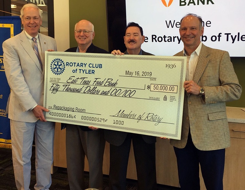 Rotary Club of Tyler Check Presentation to the East TX Food Bank